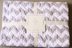 NWT  Pottery Barn Kids Baby Gray Georgia Chevron Zig Zag Quilt Blanket Ret $99 #PotteryBarnBabhy