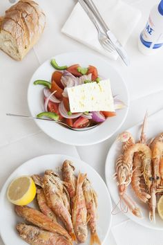 A Greek Lunch. Red Mullet, Shrimp, and Greek Salad. Red Mullet, Greek Salad, Like A Local, Athens Greece, Deli, Shrimp, Seafood, Sweet Tooth, Bakery