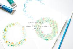make watercolor flower wreath-Inkstruck Studio