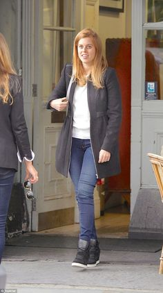 Hitting the shops in style: Princess Beatrice looked trendy as she stepped out to do a spot of shopping with her friends in Notting Hill today