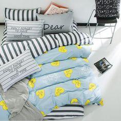 100% Cotton Star Heart Print Striped Bedding Set 3/4Pcs Home Duvet Cover Brief Style duvet cover+bedsheet+pillowcase