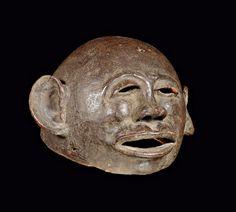MAKONDE MASK Tanzania. H 17.5 cm. Terracotta.