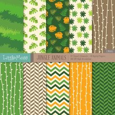 Jungle Animals Digital Clipart and Papers by LittleMoss on Etsy Jungle Theme Birthday, Jungle Theme Parties, Safari Party, Safari Theme, Jungle Party, Jungle Animals, Animals For Kids, Hobbies That Make Money, Decoupage Vintage