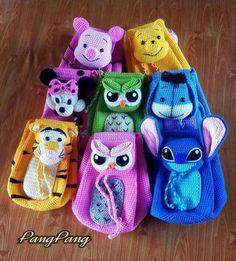 Crochet Character Book Bags No Pattern. Cute Crochet, Crochet For Kids, Crochet Crafts, Crochet Toys, Crochet Projects, Knit Crochet, Crochet Handbags, Crochet Purses, Crochet Backpack Pattern