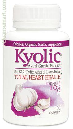 Enjoy Kyolic Aged Garlic Extract Total Heart Health Formula 108 - 100 Capsules every day at these amazing prices! Garlic Pills, Aged Garlic Extract, Garlic Supplements, Organic Garlic, Cardiovascular Health, Folic Acid, Heart Health, Vitamins And Minerals