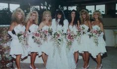 Brandi Brant at her wedding to Nikki Sixx. Bridesmaids include Heather Locklear and Sharise Neil.