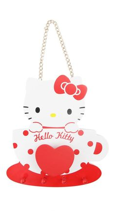 Keep your keys and small personal items organized on this supercute and adorable key rail featuring Hello Kitty in a spotted mug. Perfect for entryways, jewelry or anyplace you want to keep things organized. Hello Kitty House, Pink Hello Kitty, Hello Kitty Items, Sanrio Hello Kitty, Hello Kitty Keychain, Kawaii Diy, Cute Kitchen, My True Love, Rollerball Pen