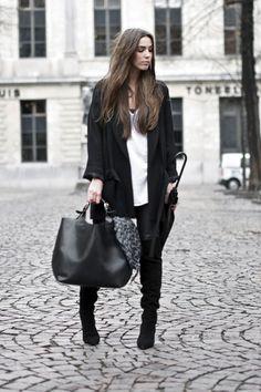 black overknee boots - black Zara coat - white t-shirt - black leather pants