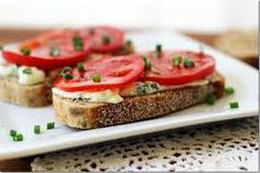 Open-Face Tomato Sandwich {with creamy feta spread} Tomato Sandwich, Sandwich Spread, Smoked Trout, Flavored Butter, Tea Sandwiches, Open Face, Plum Tomatoes, How To Make Tea, Greek Recipes