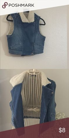 GB junior winter denim vest Cropped faux sheep-skin lined denim. Never worn in great condition GB Jackets & Coats Vests