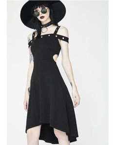 Grommet Hi Lo Dress #dollskill #killstar #newarrivals #black #punk #goth #punkrave #gothgirl