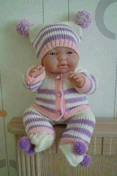 Knitted baby vest and cardigan - Knitting, Crochet Love Knitting Patterns Uk, Knitted Doll Patterns, Knitted Dolls, Knit Doll Vest, Knit Baby Dress, Knitting Dolls Clothes, Crochet Doll Clothes, Baby Born Clothes, Girl Doll Clothes