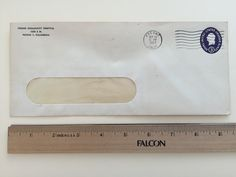"""Item: fc_19570924_2 Business cover approx. 4"""" x 9 1/2"""" (stamped envelope with window) Condition: very good – yellowing due to age and some creases  Fresno Community Hospital 1234 S. St. Fresno 1, California  Postmark: FRESNO SEP 24 8 PM 1957 CALIF. Stamp: 3c Purple George Washington stamped envelope"""