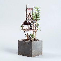 Casas en el árbol en miniatura, cabañas de madera mini, pequeñas casas en el…