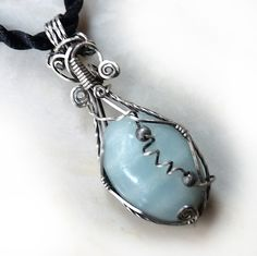 Handmade amazonite gemstone wire wrapped pendant, sterling silver. Gorgeous one-of-a-kind jewelry.