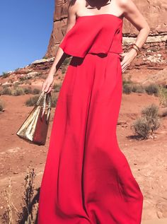 Wedding guest outfit idea, free people Gia set in arches national park in Utah on fashion blogger, Erin Busbee of busbee style