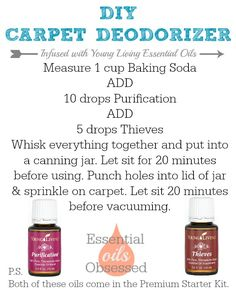Carpet deodorizer with Baking Soda and Young Living Essential Oils!