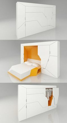 20 Exceptional Furniture Designs For Your Inspiration - Hongkiat - Boxetti Private by Rolands Landsbergs. A modular bedroom that includes a double bed, a bedside tabl -