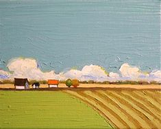 """Daily Paintworks - """"Fields and Clouds"""" - Original Fine Art for Sale - © Donna Walker"""