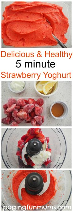 Delicious & Healthy 5 minute strawberry yoghurt! So simple and oh so delicious!