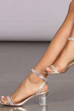 Silver Just Slayin' Heels Silver Kitten Heels, Rose Gold Heels, Kitten Heel Sandals, Ankle Strap Heels, Ankle Straps, Womens Silver Heels, Foot Pics, Latest Shoe Trends, Wedding Heels