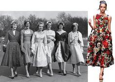 1950 – Grupo de debutantes saindo do Palácio de Buckingham, em Londres; e Dolce & Gabbana, verão 2016