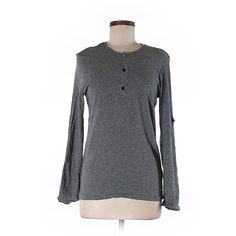 Pre-owned H&M Long Sleeve Henley Size 8: Gray Women's Tops ($17) ❤ liked on Polyvore featuring tops, grey, h&m tops, henley top, grey long sleeve top, gray top and grey top