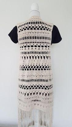 Crochet Vest Pattern, Crochet Jacket, Crochet Shawl, Crochet Yarn, Crochet Stitches, Knit Crochet, Crochet Patterns, Gilet Long, Crochet Summer Tops