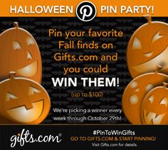 Pin your favorite Halloween & Fall Decor and you could win it (up to too bucks!) Through Oct.29 #PinToWinGifts