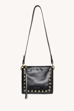 Black Cross Body Bag, Brass Hardware, Smooth Leather, Antique Brass, Rebecca Minkoff, Jewelry Collection, Studs, Crossbody Bag, Shoulder Bag