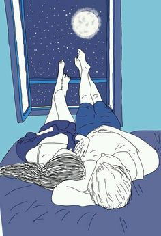 This reminds me of laying in the driveway watching the stars and the lightning w. This reminds me Cute Couple Drawings, Cute Couple Art, Love Drawings, Art Drawings, Paar Illustration, Couple Illustration, Wallpaper Iphone Love, Cute Love Cartoons, Erotic Art