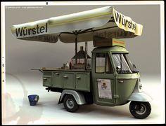 wurstel. Three wheeled food cart.