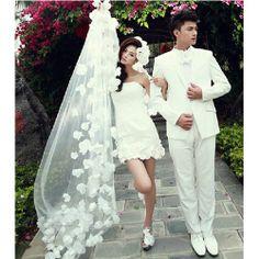 White Tulle Flower Cathedral Long Destination Wedding Bridal Veils SKU-11202063
