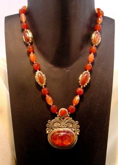 Antique Amber Resin and Carnelian by SilkRoadJewelry on Etsy