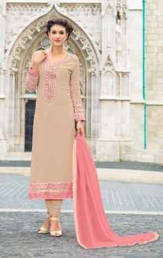 Pink Embroidered Georgette Salwar Suit With Dupatta