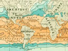 1897 Temperatures des Mers Carte du Climat Monde Planche Originale Nouveau Larousse illustré Grand Format Illustration 115 ans d'âge