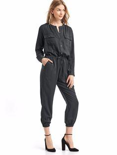 5a1f8338c48 NWT Gap Modal utility drawstring jumpsuit Black SIZE MT M T  527827 v63   fashion