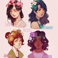 """Which is your fav FLOWER CROWN? same as my hairstyle thing but now with themed """"flower"""" crowns....more like Nature crowns? Idk what to call them but anyway if you havent guess already from my older stuff too i like making flower crowns from not just flowers but plants, mushrooms etc so these are some of my ideas right now. #flowercrown #digitalart #كلنا_رسامين"""