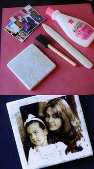 all you need are some tiles, a bone folder, a foam brush, latex gloves, nail polish remover, and color copies. Cut your photos down to fit the tile, and place them face down on tile.Apply nail polish remover on the brush and coat the back of your picture.Put a sheet of acetate over that and rub the image with the blunt end of the bone folder.Remove the excess paper around the edges and apply a tile sealer. Let it dry for an hour or two. ...