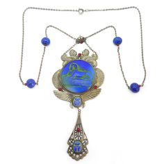 Vintage Czech Art Deco Egyptian Revival Sphinx Scarab Lapis Glass Bead Pendant Necklace | Clarice Jewellery