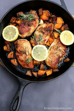This Lemon Rosemary Chicken is Paleo, Whole30 approved, and only uses one pan. Perfect for a weeknight.
