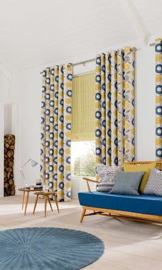 Bright patterns and plains mixed with wood an neutral shades of wood and cream create a wonderful Scandi theme. Made to measure Lotta Citron Roman blinds and Freyja Mustard Curtains work perfectly with this.