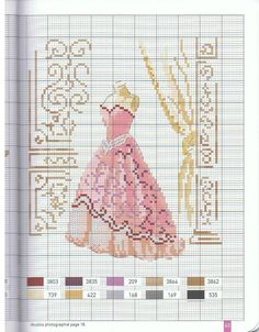 Gown pattern / chart for cross stitch, crochet, knitting, knotting, beading, weaving, pixel art, and other crafting projects