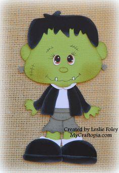 Frankenstein Premade Halloween Scrapbooking by MyCraftopia on Etsy, $5.95
