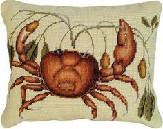 Needlepoint Crab Pillow