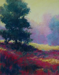 """Landscape Painting, """"Visionary Color"""" Pastel 14""""x11"""" $625.00... this tree and pasture was painted from a photograph taken in Blue Ridge, GA. www.marshasavage.com"""