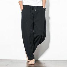 50c1e6d475 Mens Casual Baggy 100% Cotton Harem Pants Solid Color Loose Wide Leg ...