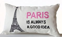 "Handcrafted Decorative Throw Pillow Cover with Paris Is Always a Good Idea and Eiffel Tower in Pink and Black -Audrey Hepburn Quote- Gift for Her- White Lumbar Pillow Case - Wedding Anniversary Birthday Gift - 12"" X 20"" Amore Beaute http://www.amazon.com/dp/B00SEIIXFY/ref=cm_sw_r_pi_dp_ZXcsvb0PV1Z8P"