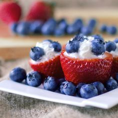 Strawberries + cream + blueberries = YUM!