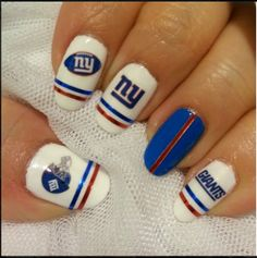 For The S That Bleed Blue Ny Giants Nails Funky Cute